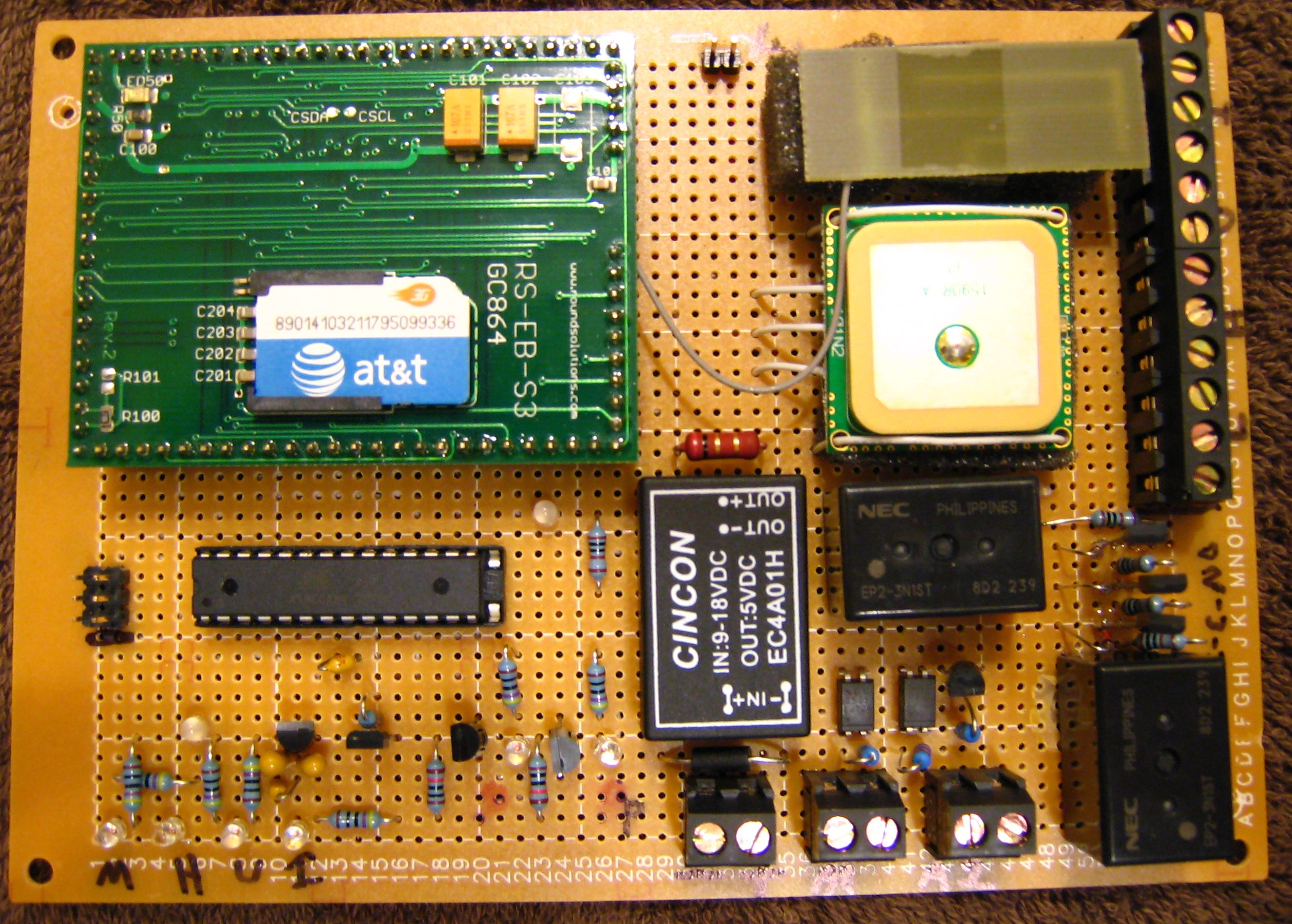 Car Security And Remote Sensing Features Help With Npn Transistor Relay Circuit Electronics Forum Circuits Board Has Atmega88 Gc864 Gsm Module Aarlogic Gps 3a Integrated Antenna Lithium Ion Battery Charger Optoisolated Alarm Inputs Relays